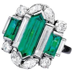 Oscar Heyman Art Deco Emerald Diamond Platinum Ring | From a unique collection of vintage fashion rings at https://www.1stdibs.com/jewelry/rings/fashion-rings/