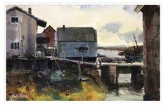 Fishing Village at Low Tide. A watercolor painting by Carlos Herrera. Watercolor Paintings, Painting, Art, Gouache Art, Gouache
