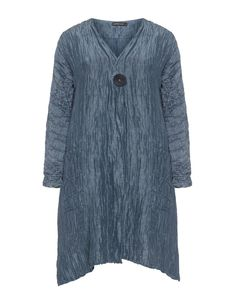 Grizas Crinkle look linen silk jacket in Smoky-Blue