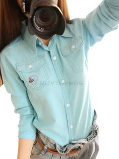 Sweet Pure Color Leisure Embroidery Single Breasted Slim  Blouse For Girls on buytrends.com