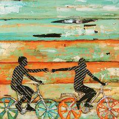 Día de San Valentín pareja playa bicicleta lámina o lona bicicleta ciclismo amor regalo de compromiso de boda ciclismo cartel pared decoración casera, todos los tamaños