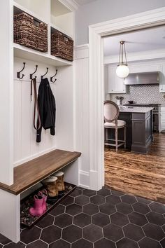 New Interior Design Ideas: The copper? boot tray with rocks for draining. New Interior Design Ideas: The copper? boot tray with rocks for draining. Mudroom Laundry Room, Bench Mudroom, Mudrooms With Laundry, Mudroom Cubbies, Laundry Baskets, Small Laundry, Bench Designs, Mud Room Designs, New Interior Design
