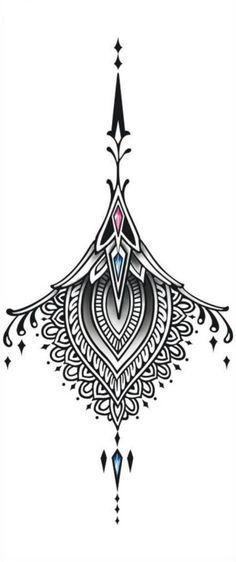 Sexy Rücken Tattoo schwarz Tattoo Ornament großes von TattooCrush