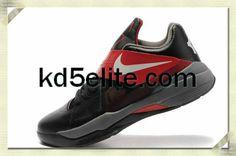 Nike Cheap KD 4 Black Team Red Grey Kevin Durant New Shoes
