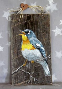 Wood Profit - Woodworking - Northern Parula songbird authentic barnwood rustic hand Discover How You Can Start A Woodworking Business From Home Easily in 7 Days With NO Capital Needed! Pallet Painting, Pallet Art, Tole Painting, Painting On Wood, Rustic Painting, Rustic Art, Driftwood Art, Watercolor Bird, Art Mural