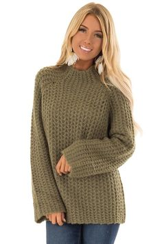 65a9aa3c4673 Olive Green Chunky Knit Pullover Sweater with Mock Neckline. Lime Lush  Boutique