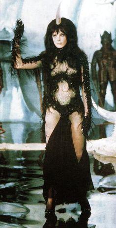 """Anita Pallenberg starred in the cult sci-fi film Barbarella as """"The Black Queen"""", opposite sixties sex symbol Jane Fonda. Sci Fi Films, Sci Fi Tv, Sci Fi Horror, Barbarella Movie, Jane Fonda Barbarella, Anita Pallenberg, Science Fiction, Fiction Film, Classic Sci Fi"""