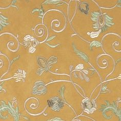 Gold Ivory Green Embroidered Floral Vines Suede Upholstery Fabric By The Yard traditional-upholstery-fabric