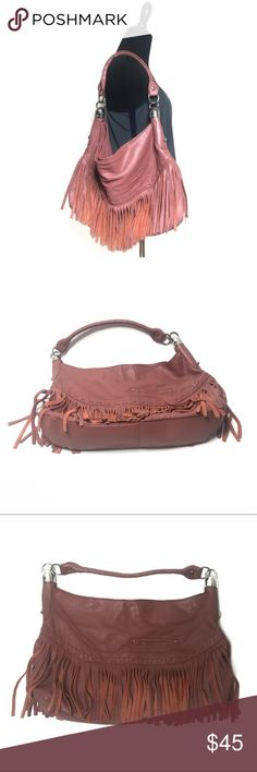 B Makowsky Fringe Bag B Makowsky Fringe Leather Hobo Bag Dusty rose pink color with leopard print lining Magnetic closure along the top Fringe trim detail along the bottom Silver hardware No tears or holes anywhere, only normal signs of use. Very good preowned condition b. makowsky Bags Hobos