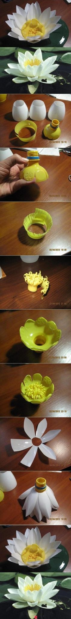 Upcycle plastic bottle = Flower DIY by Selkie~gal