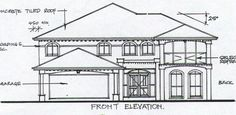 Above are house plans that show the house elevation and land contour for residential blocks. Houses on irregular shaped blocks sometimes require narrow entries.