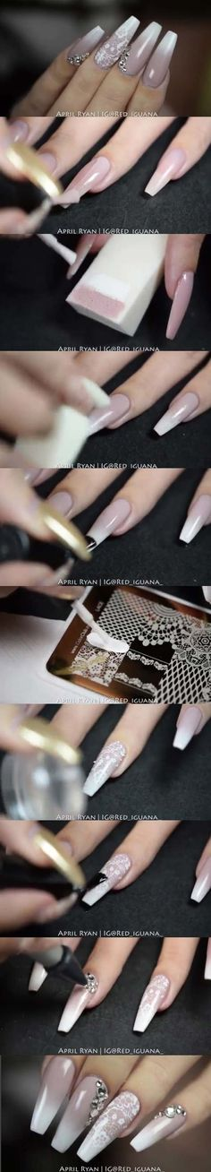 Best Nail Art Ideas for Brides - Ombre Nail with Stamping - Simpe, Cute, DIY NailArt Tutorials That Are Step By Step For Brides. Everything From The Wedding Manicure To French Tips To Simple Sparkle and Bling For The Ring Finger. These Are Super Fun And Super Easy. - https://thegoddess.com/nail-art-ideas-for-brides