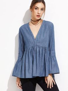 Shop V Neckline Flute Sleeve Frill Blouse online. SheIn offers V Neckline Flute Sleeve Frill Blouse & more to fit your fashionable needs. Frill Blouse, Denim Blouse, Denim Top, Blue Denim, Hijab Fashion, Boho Fashion, Fashion Dresses, Blouse Styles, Blouse Designs