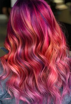 55 Glorious Sunset Hair Color Ideas for True Romantics hair color shades – hair ideas Funky Hair Colors, Bright Hair Colors, Hair Dye Colors, Funky Colored Hair, Colourful Hair, Hair Color Shades, Hair Color Purple, Cool Hair Color, Weave Hair Color