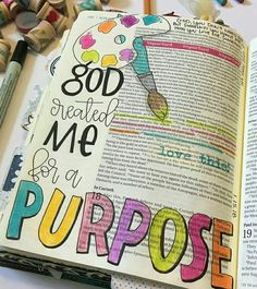 Some purpose is easy to define because it's all laid out for us in Scripture, other purposes. I can cling to these truths though! Faith Bible, My Bible, Bible Art, Bible Scriptures, Devotional Bible, Bible Journaling For Beginners, Bible Study Journal, Scripture Study, Scripture Journal