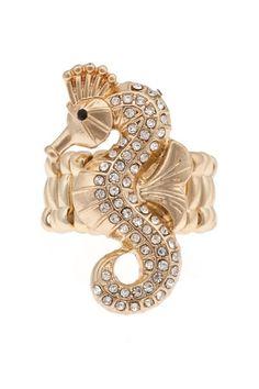 Sandie Golden Seahorse Ring - matches my tattoo