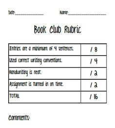 Book Club Rubric