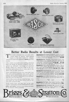 Radio News January 1923 ad for Brigs & Stratton Company of Milwaukee