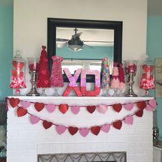 Valentine's Day Mantle. Felt heart trees, glitter paper mache letters.