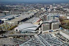 Aerial photograph over Philips Arena, CNN and the Georgia World Congress Center.