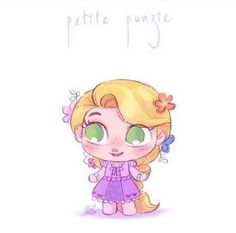 Chibi Rapunzel by David Gilson Kawaii Disney, Chibi Disney, Baby Disney, Cute Disney Drawings, Disney Princess Drawings, Disney Princess Art, Cute Drawings, Princess Kida, Princess Jasmine