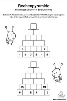 Computing pyramid for children in primary school - Kinderspiele Math Activities For Kids, Math For Kids, Puzzles For Kids, Fun Math, Math Games, Diy For Kids, Kids Learning, Number Words Worksheets, Math Worksheets