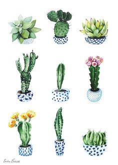 Cactus - by cristina caramida art cactus illustration, cactu Cactus Drawing, Cactus Painting, Plant Drawing, Cactus Art, Watercolor Cactus, Cactus Doodle, Succulent Drawings, Cactus Decor, Kaktus Illustration