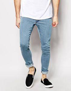 $51, Asos Brand Extreme Super Skinny Jeans In Light Wash. Sold by Asos. Click for more info: https://lookastic.com/men/shop_items/183609/redirect
