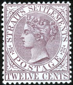 12¢. Brown-purple - SG67 Old Stamps, Vintage Stamps, Strait Of Malacca, Straits Settlements, Queen Vic, Crown Colony, Labuan, World History, Southeast Asia