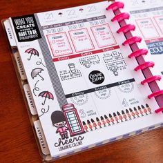 Planner page by designer Meredith Ensell using the Sweet Stamp Shop United Kingdom, Basic Tabs and Just Icons stamp sets