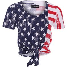 Religion T-shirt Flag (150 BRL) ❤ liked on Polyvore featuring tops, t-shirts, shirts, blusas, crop top, blue shirt, pattern t shirt, striped t shirt, american flag t shirt and tie t shirt