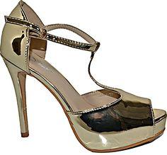 Damen Pumps Spitze High Heels Schuhe Lack Glanz Elegant Peep-Toes Hochzeit Plateau Größe 38, Farbe Gold
