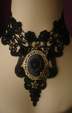 Gothic choker cameo choker victorian choker by poppenkraal, $49.90 - would look awesome with a black strapless gown!