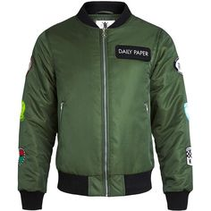 Daily Paper Green Bomber ($200) ❤ liked on Polyvore featuring mens, men's clothing and men's outerwear