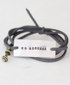 'no excuses' motivational bracelet