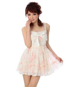 Liz Lisa-- pretty white and pink floral lacy dress