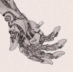 Bad for Education – Cyberpunk Gallery Cyberpunk Kunst, Cyberpunk Anime, Hand Kunst, Manga Art, Anime Art, Shark Drawing, Robot Hand, Cyberpunk Aesthetic, Robot Concept Art