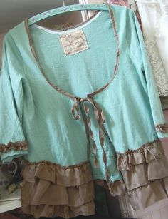 Wool Cardigan Sweater Womens Shabby Chic MEDIUM Merino Wool Upcycled Altered Clothing Mint Aqua Handmade Tattered Silk. $68.50, via Etsy.