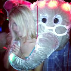 YEs. Harry is wearing an elephant head costume that is all for today