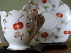 VINTAGE UCAGCA TEA CUP AND SAUCER SET CHERRY PRINT OCCUPIED CHINA MADE IN JAPAN