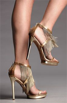 B Brian Atwood 'Cassiane' Chain-link fringe drips Snakeskin Sandal #Heels #Shoes #Fringes