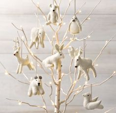 Wool Felt Animal Ornament, needle felted would be better.  Nice Christmas gift to have a set of needle felted ornaments.