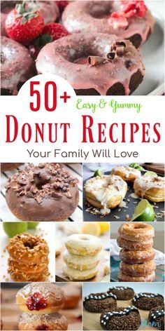 Jelly Donuts Recipe, Vegan Donut Recipe, Donut Recipes, Delicious Donuts, Delicious Breakfast Recipes, Yummy Food, Yummy Treats, Yummy Recipes, Sweet Treats