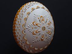 ... Decorated Duck Egg, Wax Embossed and Drilled Pysanky, Madeira Kraslice