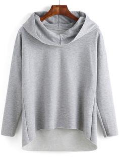 Kapuzensweatshirt Langarm mit abfallendem Saum - grau- German SheIn(Sheinside)