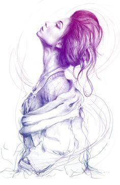 Pretty (Purple) Lady Portrait Art Print from Bechans.