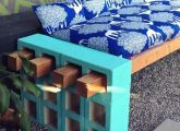 DIY outdoor Cinderblock Wood Seating! Heres the before and after photo