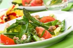 Sugar Snap Pea and Asparagus Salad, serve with grilled chkn and potato wedges for Mikey