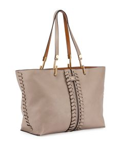 Chloe Keri Medium Leather Tote Bag, Gray