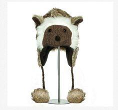 FURRY ANIMAL HAT knit Costume ski cap FLEECE LND hedgehog opossum possum mouse #Hat